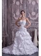 Latest A-line / Princess Strapless Wedding Dress Taffeta Beading Court Train