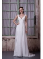Latest Empire V-neck Wedding Dress Chiffon Appliques Brush Train
