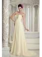 Light Yellow 2013 Prom Dress Empire Sweetheart Chiffon Beading Brush Train