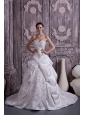 Lovely A-line / Princess Sweetheart Wedding Dress Taffeta Embroidery With Beading Court Train