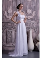 Lovely Empire Wedding Dress One Shoulder Court Train Chiffon Ruch