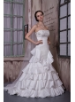 Modest A-line Strapless Wedding Dress Taffeta Appliques Ruffled Layers Brush Train