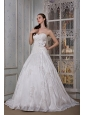 Modest A-line Sweetheart Wedding Dress Taffeta Appliques and Hand Made Flower Brush Train