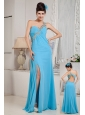 Modest Aqua Blue Empire One Shoulder Prom   Dress Chiffon Beading Floor-length