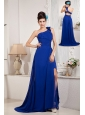 Modest Royal Blue A-line / Princess Prom Dress One Shoulder Chiffon Beading and Bow Brush Train