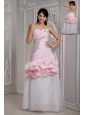 Perfect Baby Pink and White Prom Dress Mermaid Sweetheart Beading Floor-length Taffeta