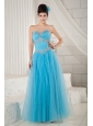 Popular Aqua Blue Prom Dress A-line Sweetheart Tulle Beading Floor-length