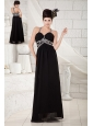 Popular Black Empire Evening Dress Straps Chiffon Beading Floor-length