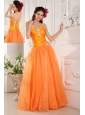 Popular Orange Prom / Evening Dress A-line Sweetheart Organza Appliques Floor-length