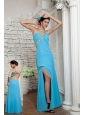Pretty Aqua Blue Empire One Shoulder Prom Dress Floor-length Chiffon Appliques