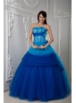 Pretty Blue Ball Gown Quinceanea Dress Sweetheart Floor-length Tulle Ruch