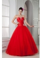Red Sweet 16 Dress For Custom Made Ball Gown Sweetheart Tulle Beading Floor-length