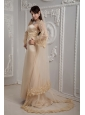 Roamntic Champagne Column Strapless Wedding Dress Satin Lace  Brush Train