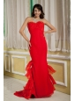 Simple Red Mermaid Prom Dress Sweetheart Chiffon and Organza Brush Train