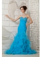 Sky Blue 2013 Prom Dress For Custom Made Sweetheart Organza Beading Brush Train