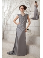 The Most Popular Gray Column V-neck Prom Dress Chiffon Ruch Brush Train