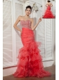 Unique Coral Red Mermaid Prom / Evening Dress Sweetheart Beading Brush Train Organza