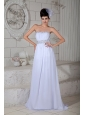 White Empire Wedding Dress Strapless Brush Train Chiffon Beading