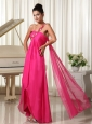 Appliques Decorate Shoulder Hot Pink High-low Prom Dress With Watteau Train
