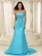Aqua Blue Spaghetti  Straps Plus Size Prom Dress For Celebeity Appliques Custom Made