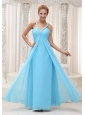 Beaded Decorate V-neck Ruched Bodice Aqua Blue Chiffon Prom / Evening Dress For 2013