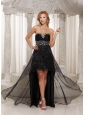 Black High-low Prom Dress Sweethart Beaded Decorate Bust Custom Made With Organza