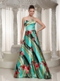 Colorful Pringting Sweetheart A-line Prom Dress With Floor-length