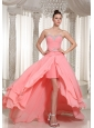 Custom Made High-low Prom Dress With Watermelon Chiffon Beaded Decorate