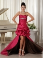 Custom Made Perfect Taffeat High-low Prom Dress Ruched and Beading Bodice