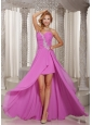 High-low Prom Dress Lavender Sweetheart With Appliques and Ruched Bodice