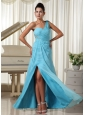 High Slit Aqua Blue Prom Dress One Shoulder Chiffon Watteau Train In Kansas