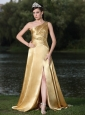 High Slit Gold Plus Size Prom Dress In Formal Party With One Shoulder Beaded Decorate