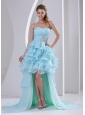 Light Blue Organza High-low Sweetheart 2013 Prom / Homecoming Dress With Beading Ruch and Ruffles Brush Train
