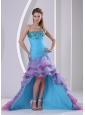Multi-color High-low Prom Dress Mermaid Beading and Ruch Organza In Summer
