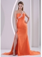 Orange Red One Shoulder High Slit Court Train 2013 Plus Size Prom Pageant Dress Appliques and Ruch