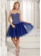 Peacock Blue Beaded Decorate Up Bodice Knee-length 2013 Prom Dress Sweetheart Tulle