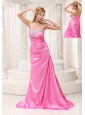 Pink Beaded Decorate Bust Ruched Bodice Brush Train Taffeta 2013 Prom / Evening Dress For Formal Evening