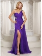 Purple High Slit One Shoulder Prom Celebrity Dress With Brush Train Beading and Ruch