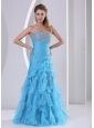 Riffles Baby Blue Sweetheart Beading and Ruch 2013 Prom Dress Party Style