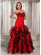 Ruffles A-line Swetheart Ruched Bodice Prom Dress Red and Black With Beading Decorate