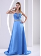 Sky Blue 2013 Plus Size Prom / Evening Dress With Beading and Ruch A-line Sweep Train Satin