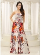Strapless Printing Evening Dress Beaded Decorate Bust Floor-length