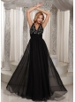 V-neck Beaded Bodice Cheap Prom Celebrity Dress Black Chiffon