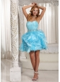Wholesale A-line Aqua Blue Ruffles Prom Dress Ruched Bodice And Beading Mini-length