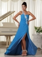 Appliques Decorate One Shoulder Sky Blue High Slit Prom Dress Brush Train