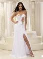 Appliques Decorate Shoulder Ruched Bodice High Slit For Prom Dress In Washington
