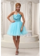 Aqua Blue A-line Prom Dress For 2013 Taffeta and Organza Ruched Bodice Mini-length