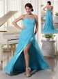 Aqua Blue High Slit Prom Dress With Beading Decorated Sweetheart and Ruch Brush Train Chiffon and Elastic Woven Satin