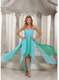 Asymmetrical Sweetheart Beaded Decorate Waist Prom Dress With Aqua Blue Chiffon 2013