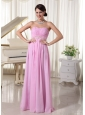 Baby Pink Chiffon Ruched Sweetheart Prom Dress With Appliques Decorate Waist